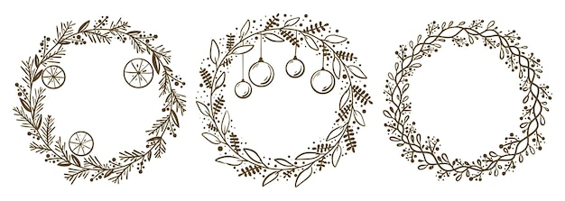 Collection of christmas floral wreaths