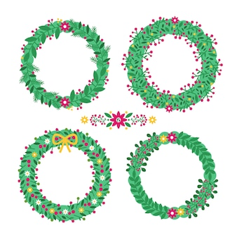 Collection of christmas flower & wreath in flat design