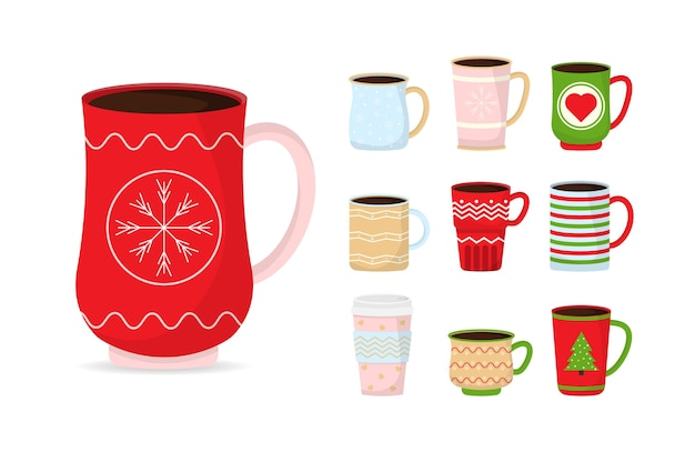 Collection christmas funny cups. christmas mugs with hot drink. winter coffee and tea.