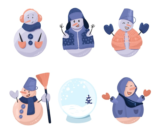 Collection of christmas funny snowmen and empty snow glass globe, hand drawn isolated on a white background