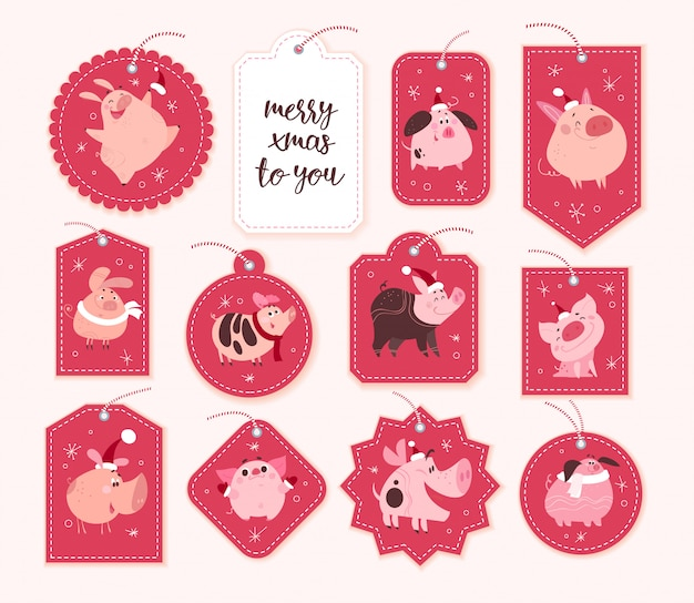 Collection of christmas gift tags and badges different shapes isolated on red background. new year cute pig characters in santa hat.