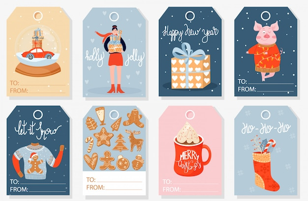 Collection of christmas gift tags or labels.