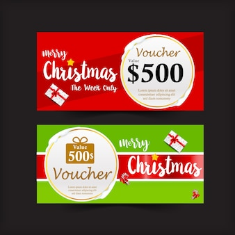 Collection of christmas gift voucher tag banner promotion sale and discount vector illustr
