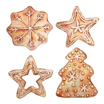 Collection of christmas gingerbread, stars, snowflake and tree. watercolor illustration