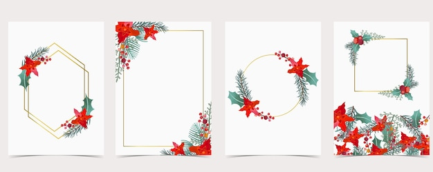 Collection of christmas greeting card background set with holly leaves, flower.