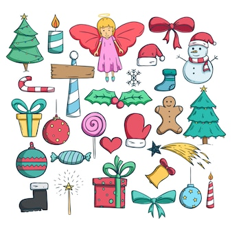 Collection of christmas icons or elements with doodle style