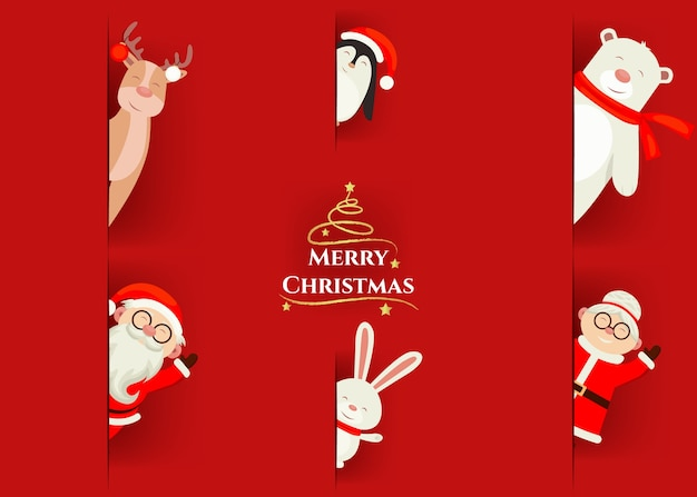 Collection of christmas icons with santa claus