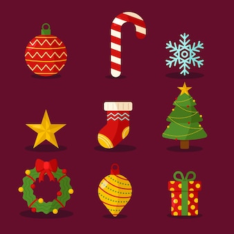 Collection of christmas label in flat design