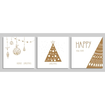 Collection of christmas and new year greeting card