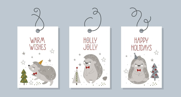 Collection of christmas and new year tags with winter elements