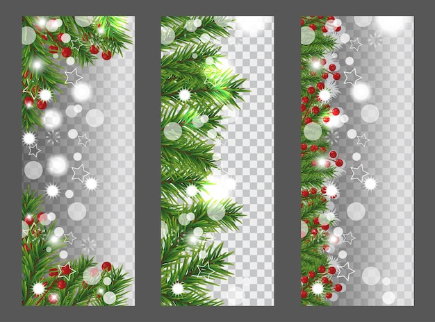 Collection christmas and new year vertical banner with border or garland of christmas tree branches and holly berries on transparent background. holidays decoration.