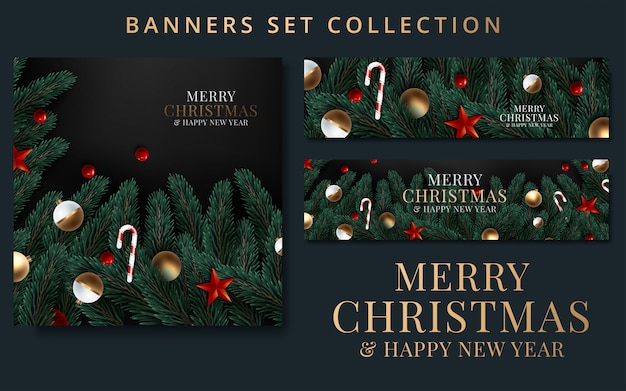 Collection christmas and new year with border or garland of christmas tree branches