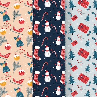 Collection of christmas pattern in flat design