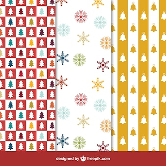 Collection of christmas patterns in colored style