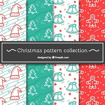 Collection of christmas patterns with hand-drawn items