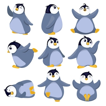 Collection of christmas penguins illustration