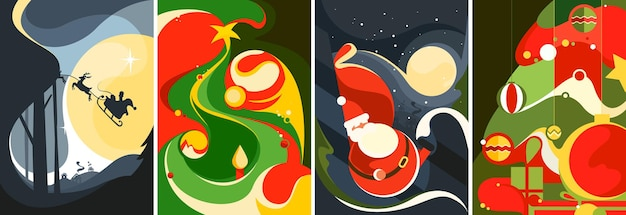 Collection of christmas posters. different postcards templates.
