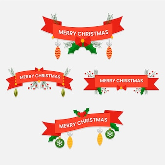 Collection of christmas ribbon in flat design
