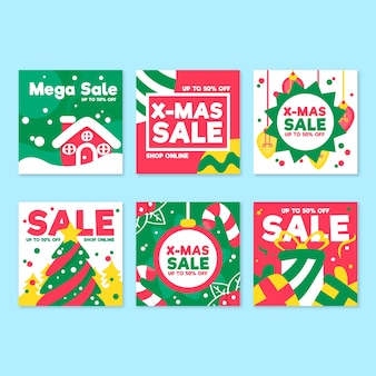 Collection of christmas sale instagram post