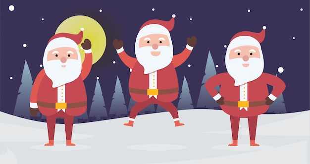 Collection of christmas santa claus playing pose activity for xmas day