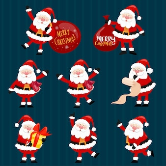 Collection of christmas santa claus.