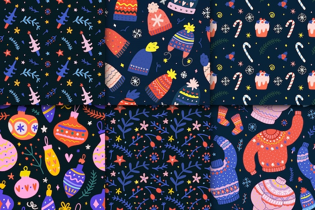 Collection of christmas seamless patterns