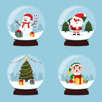 Collection of christmas snowglobes