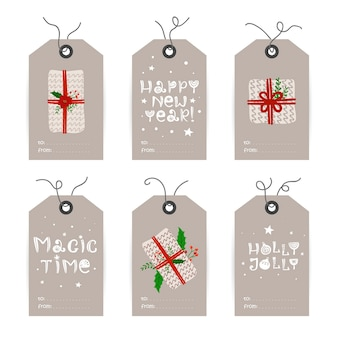 Collection of christmas tags with gifts and holiday wishes.