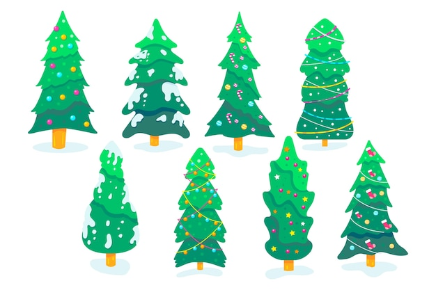 Collection of christmas tree in flat design