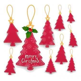 Collection of christmas tree hanging tags with rope. kraft paper labels.