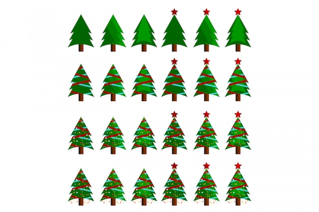 Collection christmas tree vector illustration