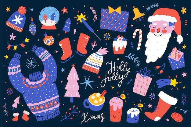 Collection of christmas vector illustrations