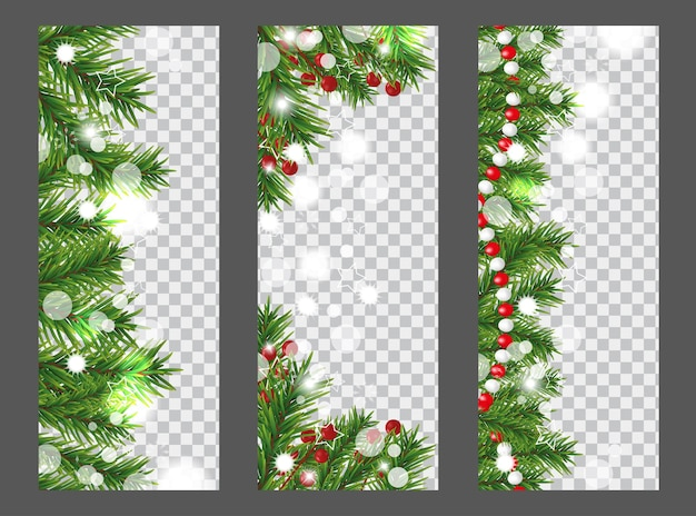Collection christmas vertical banner with border or garland of christmas tree branches, holly berries and beads