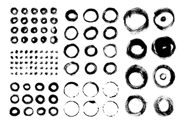 Collection of circle brush strokes. set of vector grunge brushes. dirty textures of banners, boxes, frames and design elements. painted objects isolated on white background