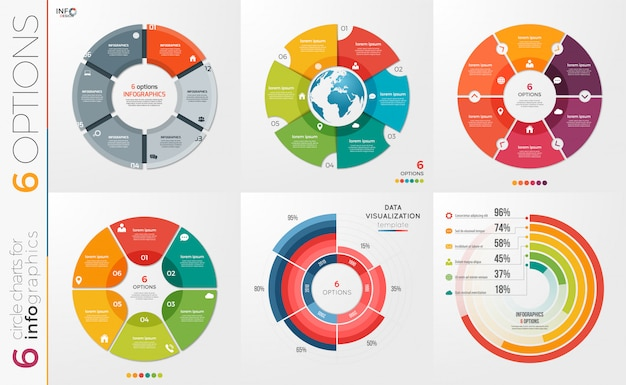 Collection of   circle chart templates 6 options.