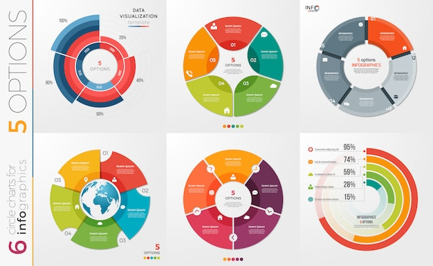 Collection of   circle chart templates for infographics
