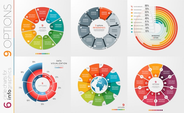 Collection of   circle chart templates  options.