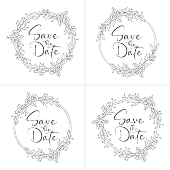 Collection of circle style minimal floral wedding frame and monogram with wedding wreath