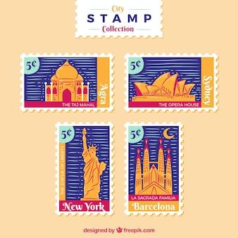 Collezione di francobolli cittadini con punti di riferimento