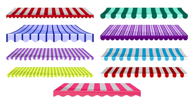 Collection of classic canopy awnings, striped sunblinds, design element for cafe, shop, restaurant  illustration