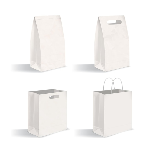 Collection of clean packages isolated on white background. set of blank paper bags with and without handles. bundle of mock-ups. vector illustration for advertising, corporate identity demonstration.