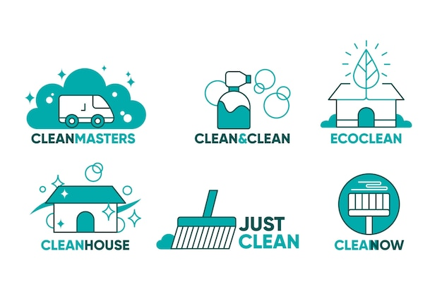 Collection of cleaning company logos