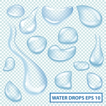 Collection of clear water drops. shiny aqua drops set. vector illustration can be used for web design and other crafts