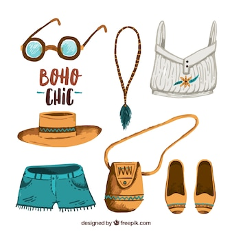 Collection of clothes in boho chic style