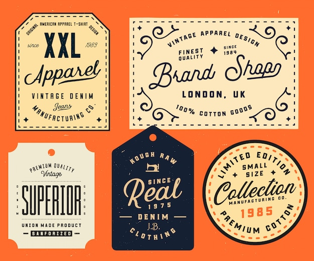 Collection of clothing tags, label, design elements. denim typography labels. vintage apparel labels design