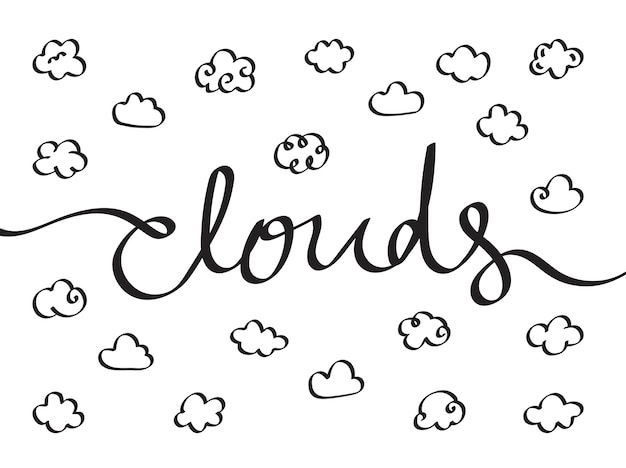 Collection of cloud icons illustration
