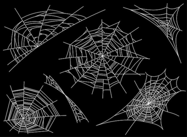 Collection of cobweb, isolated on black. spiderweb. spooky, scary, horror decor