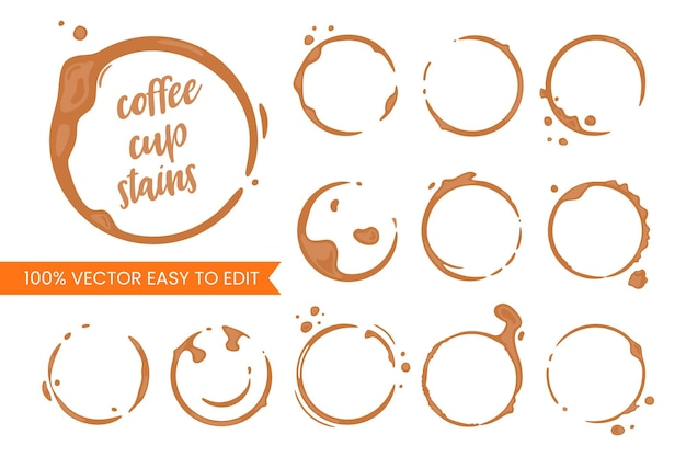 Collection of coffee cup round stains. vector drops and splashes on white.