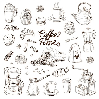 Collection of coffee doodle elements for cafe menu