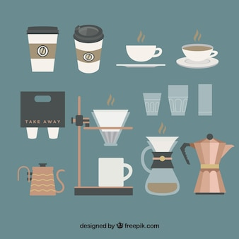 Collection of coffee elements in vintage style